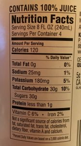 Food label showing 30 grams of sugar in 1 portion