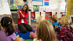 Kindergartners learn how to use Oh'Pal for a Cavity Free Future